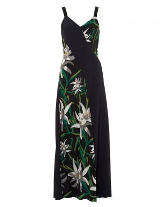 Womens Maxi Dress, Paneled Navy Blue Lily Print Black Dress