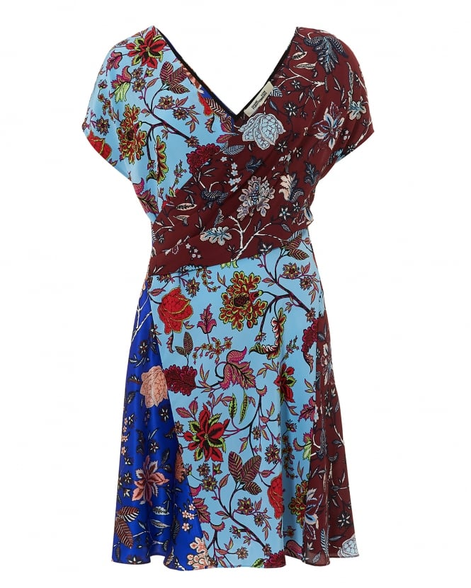 Diane von Furstenberg Womens Multipanel Floral Dress, V Neck/Back Electric Blue Dress