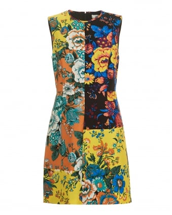 Womens Patchwork Sleeveless Multi Coloured Shift Dress