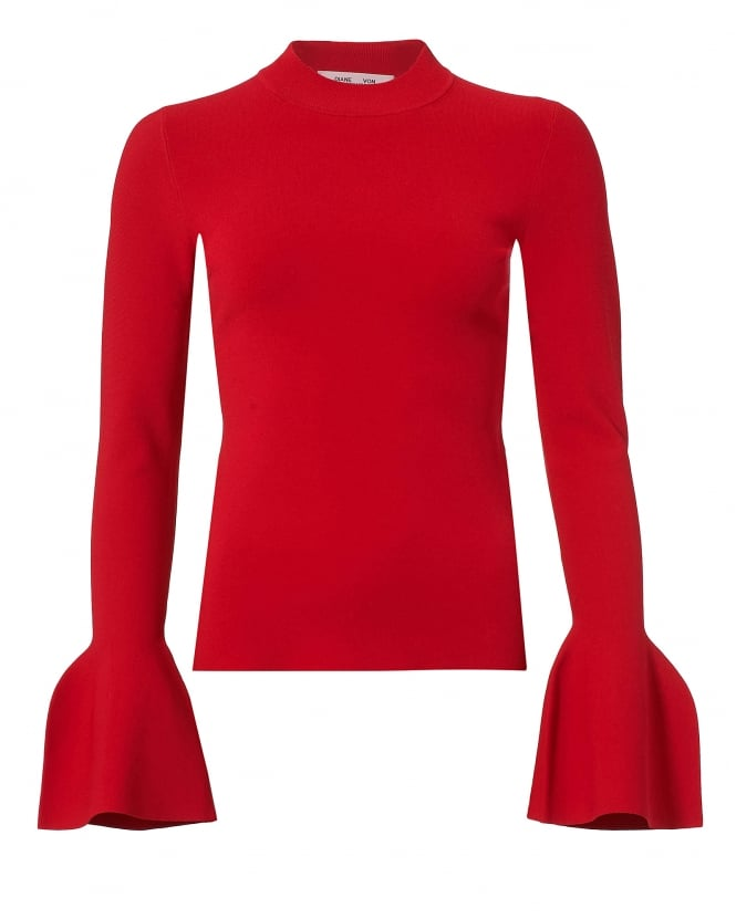 Diane von Furstenberg Womens Red Turtleneck Jumper, Fluted Sleeve Sweater