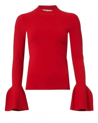 Womens Red Turtleneck Jumper, Fluted Sleeve Sweater