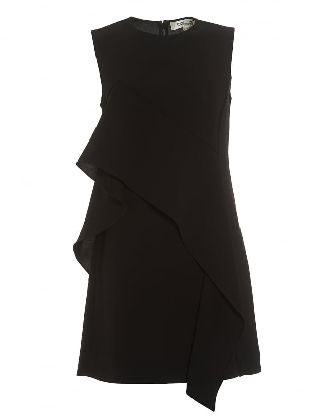 Diane von Furstenberg Womens Ruffle Front Mini Black Dress