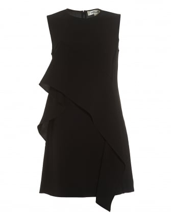Womens Ruffle Front Mini Black Dress