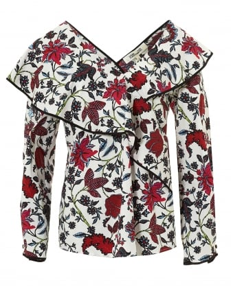 Womens Ruffle Top, Cantonese Flower Print Ivory Blouse