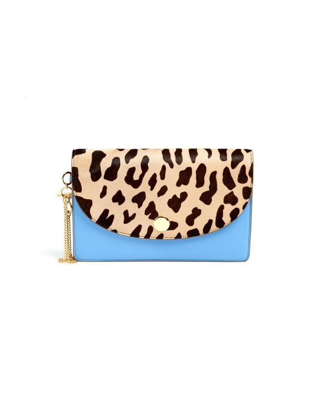 Diane von Furstenberg Womens Saddle Leopard Powder Blue Evening Clutch Bag