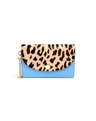 Womens Saddle Leopard Powder Blue Evening Clutch Bag