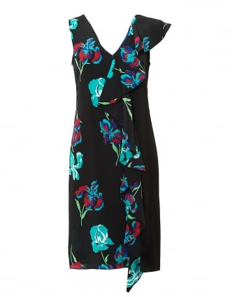 Womens Side Ruffle Asymmetric Floral Black Dress