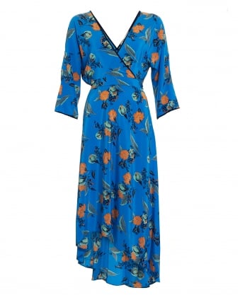 Womens Silese Floral Print Long Sleeve Blue Dress