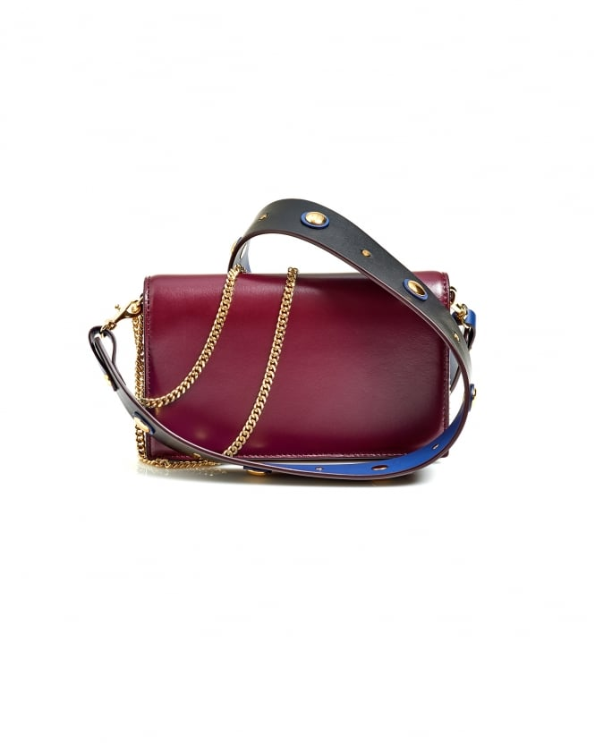 Diane von Furstenberg Womens Soiree Crossbody Contrast Strap Bordeaux Bag