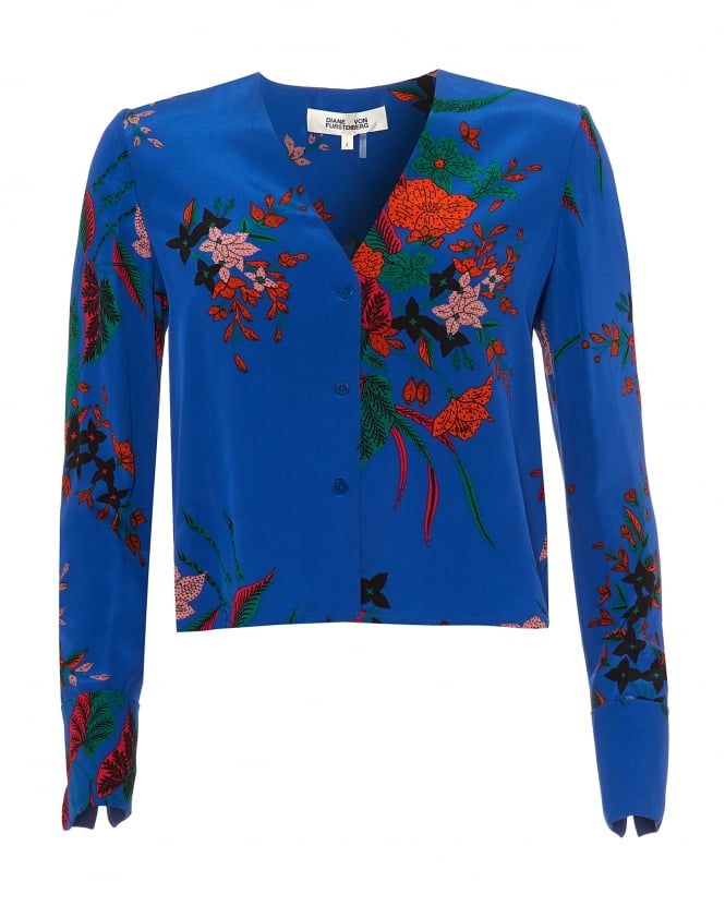 Diane von Furstenberg Womens V Neck Blouse, Camden Cove Print Blue Multi Coloured Top