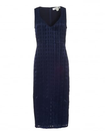 Womens V-Neck Dress, Midnight Blue Square Print Midi Dress
