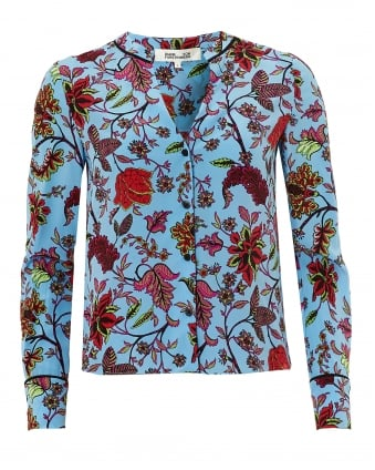 Womens V Neck Shirt, Cantonese Floral Print Blue Blouse