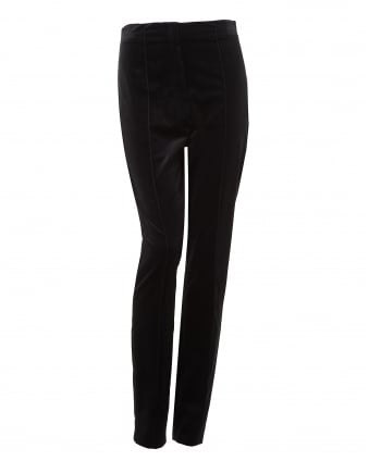 Womens Velvet Fabric Cigarette Black Trousers