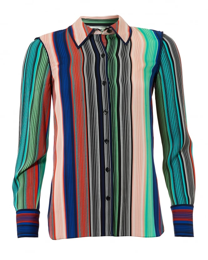 Diane von Furstenberg Womens Vertical Multi Coloured Stripe Silk Shirt