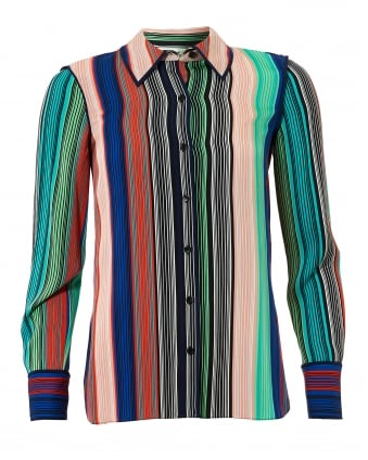 Womens Vertical Multi Coloured Stripe Silk Shirt