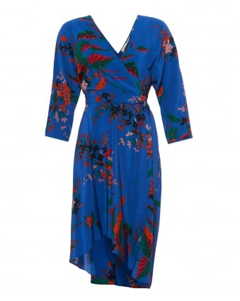 Womens Wrap Dress, Camden Cove Print Blue Multi Coloured Dress
