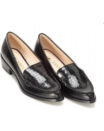 Dillian Black Leather Croc Loafer
