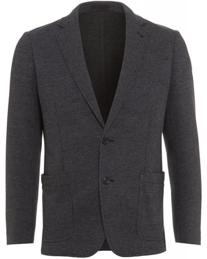Armani Collezioni Dogstooth Print Blazer, Short Grey Jacket