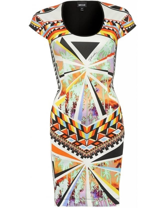 Just Cavalli Dress Black Multi Geometric Dress