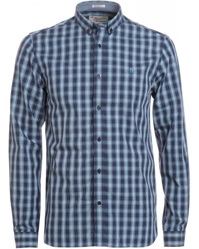 Original Penguin Dress Blue Check Heritage Slim Fit 'Watson' Shirt