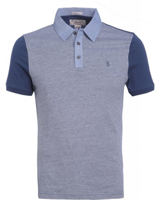 Original Penguin Dress Blue Contrast Birdseye Slim Fit Polo Shirt