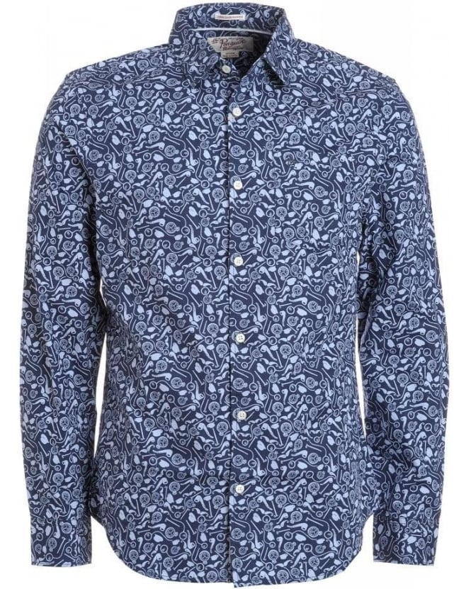 Original Penguin Dress Blue 'Gentlemans Print' Slim Fit Shirt