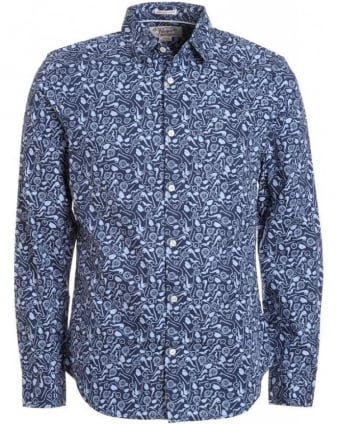 Dress Blue 'Gentlemans Print' Slim Fit Shirt