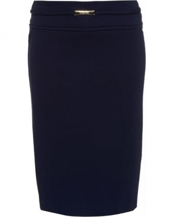 Dress Blue High Waisted Stretch Pencil Skirt