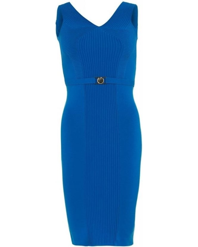 Versace Collection Dress Blue Knitted Panel Dress
