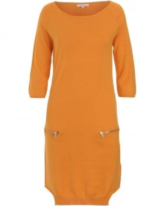 Dress, Orange Knit Jersey Dress
