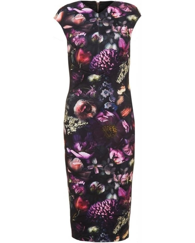 Ted Baker Dress Raisie Mid Grey Shadow Floral Midi Dress