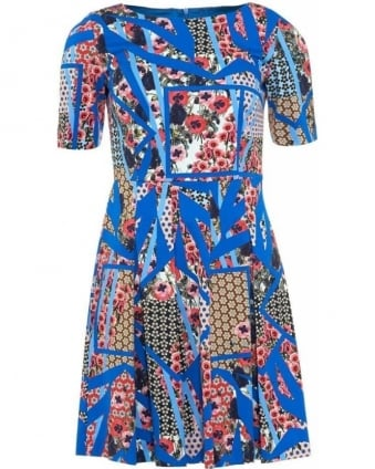 Dress 'Roger' Blue Multi Electric Blue Full Skirt Dress