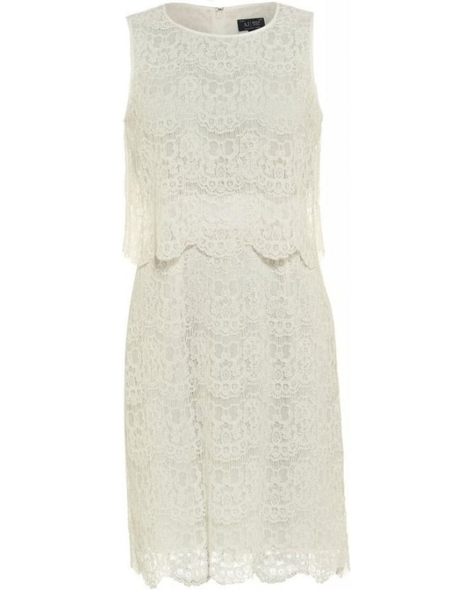 Armani Jeans Dress White Lace Tier Dress
