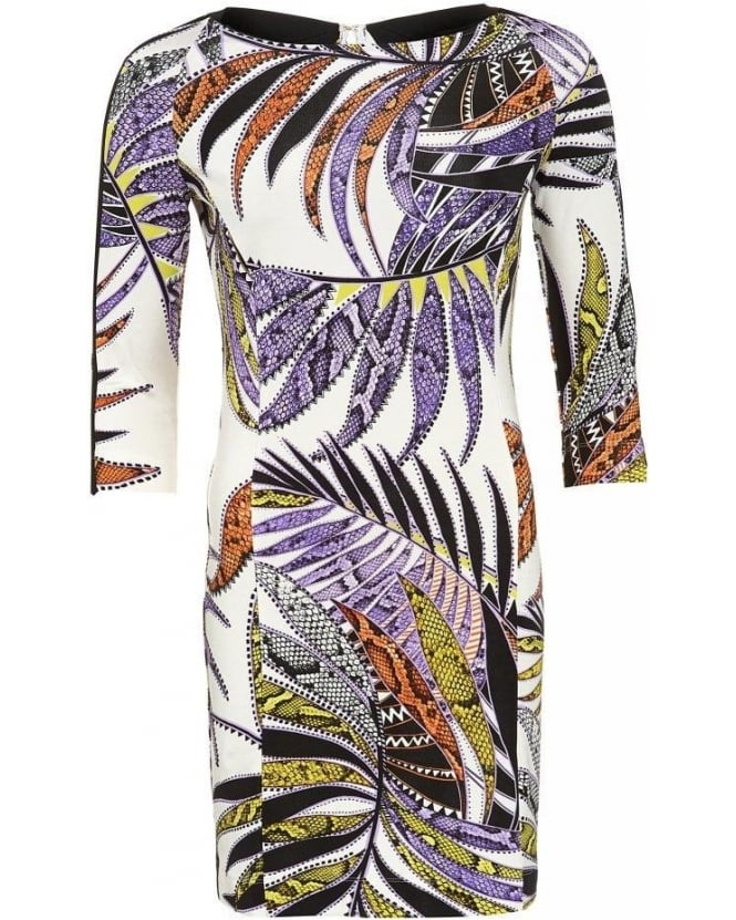 Just Cavalli Dress White Multi Tropical Sunrise Print Cut Out Dress