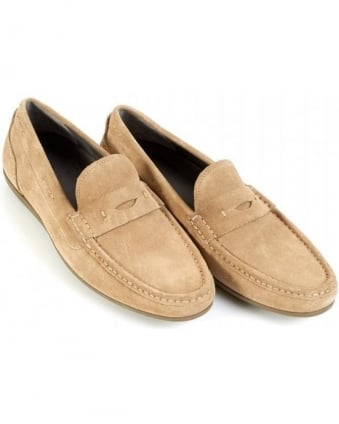 Driving Shoes Suede 'Florios' Beige Penny Loafers