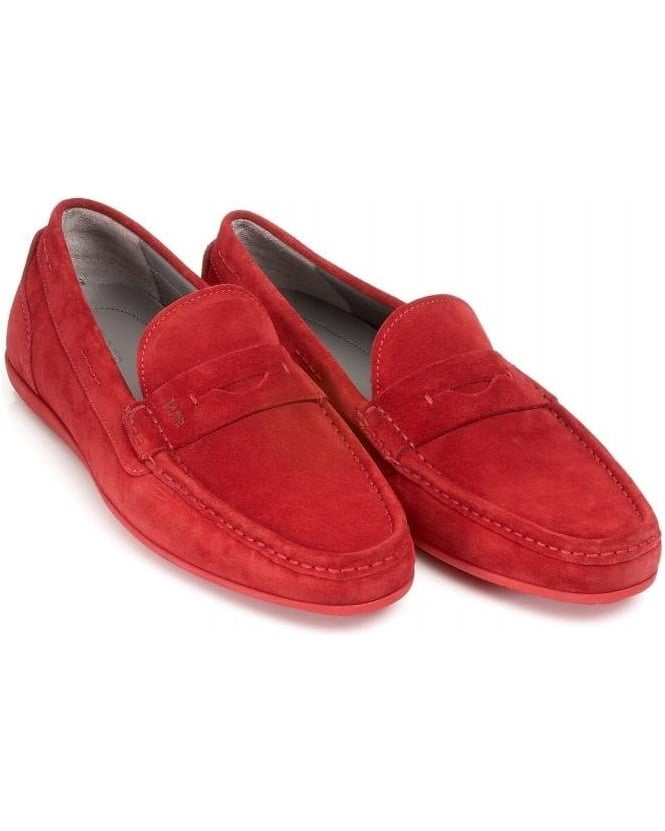 Hugo Boss Black Driving Shoes Suede 'Florios' Red Penny Loafers