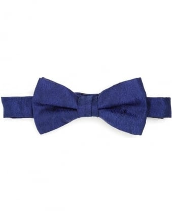 Mens Bow Tie Blue Sketch Honeycomb Clip Tie