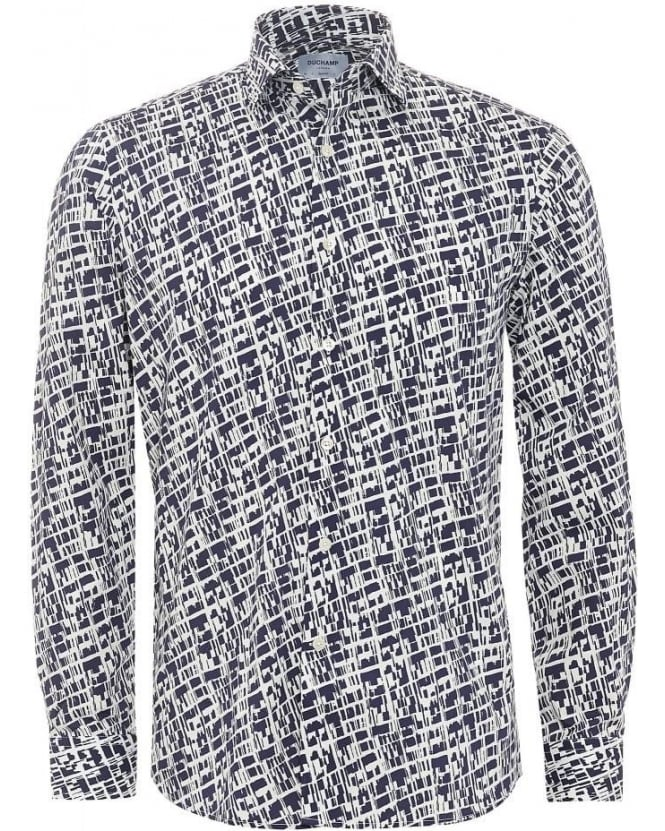 Duchamp Mens Shirt Navy White Graphic Blocks Slim Fit Shirt