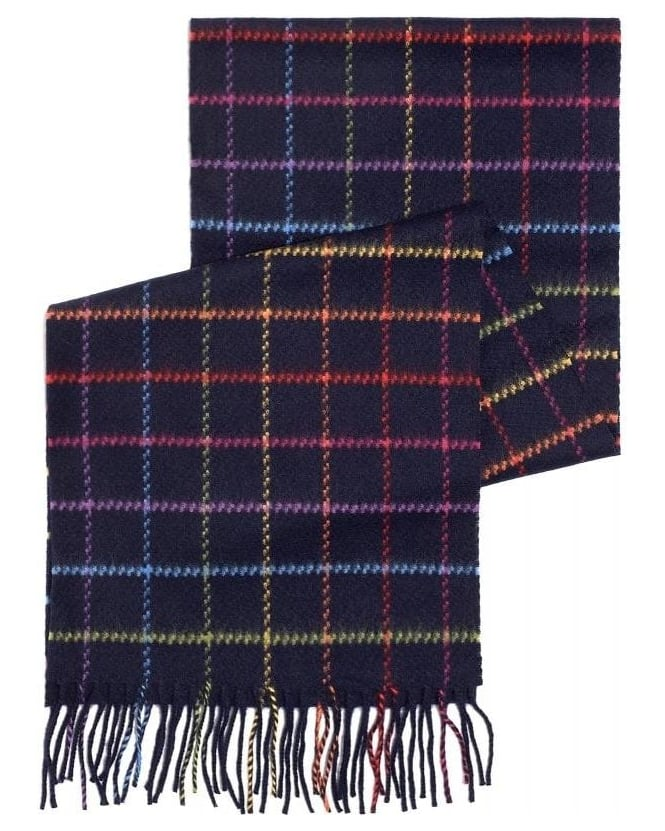 Duchamp Multi-Coloured Square Print Fringe Scarf