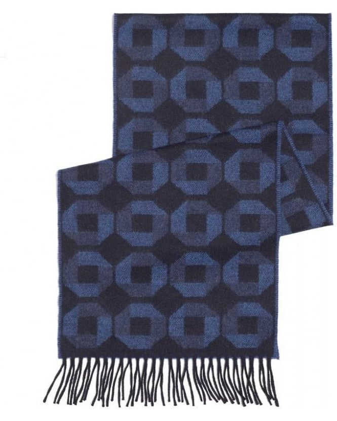 Duchamp Navy Blue Hexagon Print Fringe Scarf