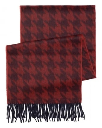 Red Dogstooth Fringe Scarf