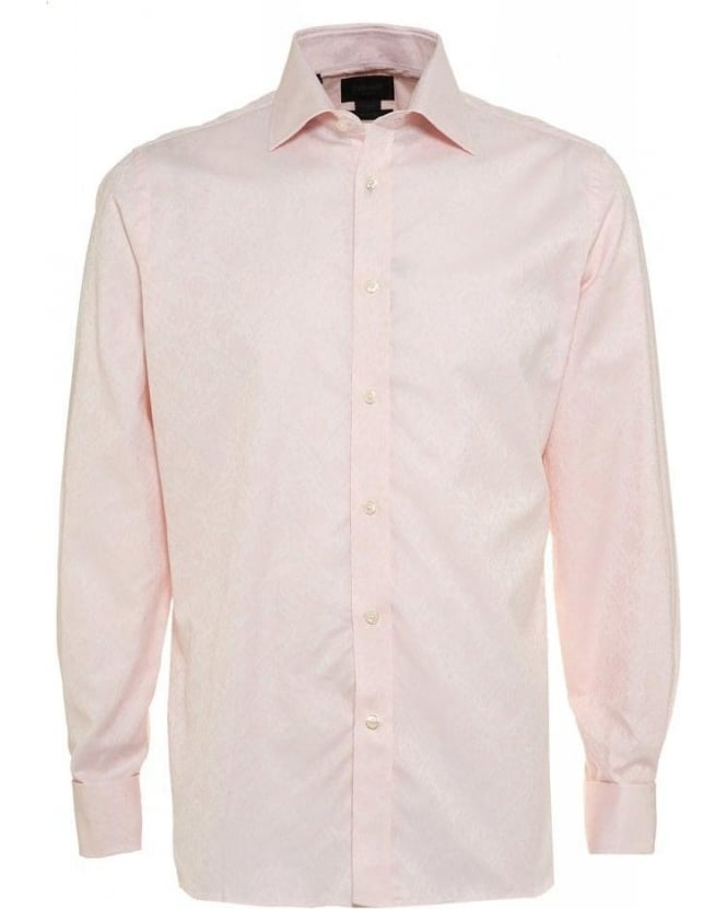 Duchamp Strawberry Pink Floral Jacquard Tailored Fit Shirt