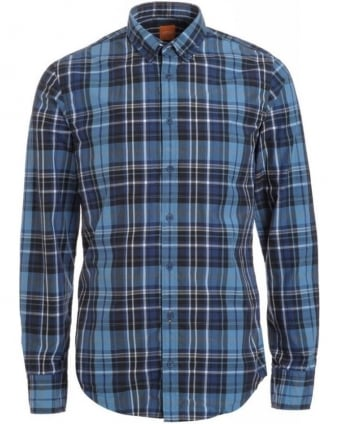 'Edipoe' Slim Fit Blue Checked Shirt