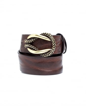 Womens Antique Gold Rope Knot Brown Leather Belt
