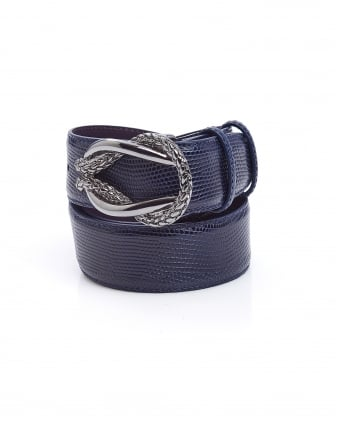 Womens Blue Reef Knot Faux Lizard Belt