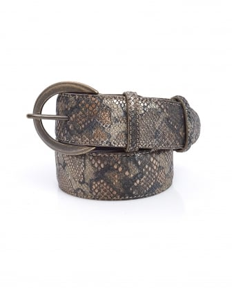 Womens Brown Metallic Reptile Effect Leather Belt