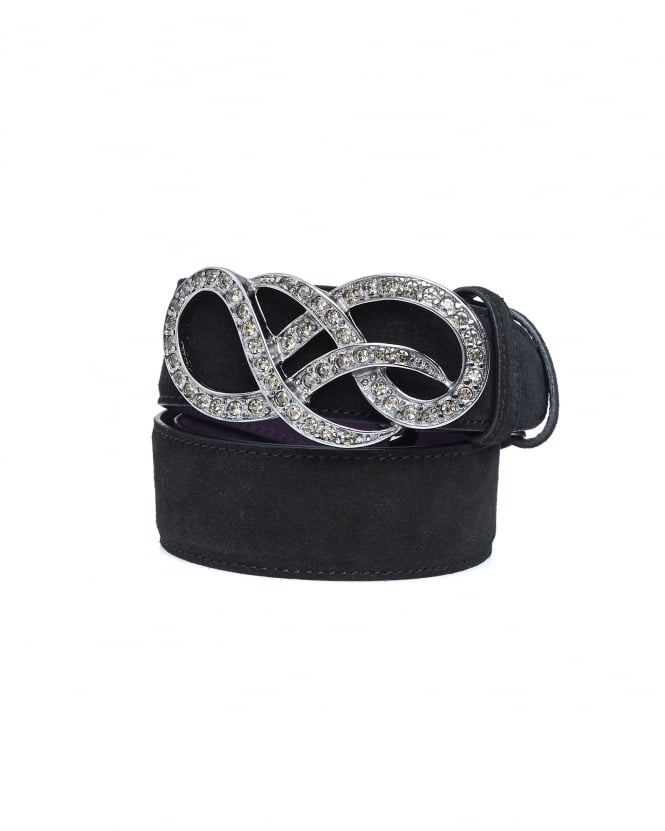 Elliot Rhodes Womens Crystal Gold Swirl Black Suede Belt