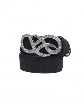 Womens Crystal Gold Swirl Black Suede Belt