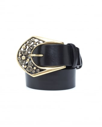 Womens Curved Bubble Buckle Gold and Black Belt