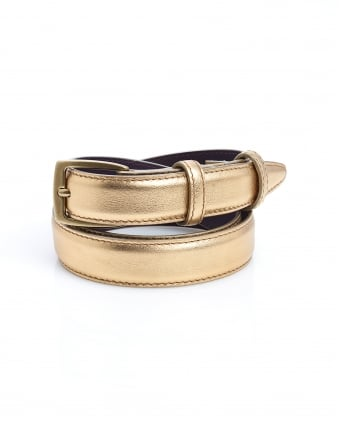 Womens Gold Metallic Square Buckle Narrow Leather Belt